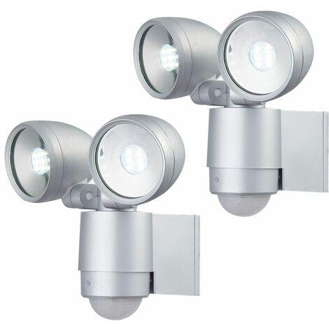 2x LED luces exteriores apliques de pared lámparas de patio sensor de movimiento ajustable