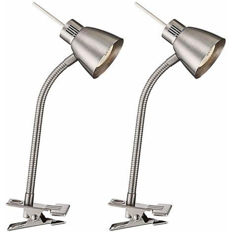 2x LED mesa escritorio lámparas de la abrazadera sala de trabajo FLEXO focos de plata