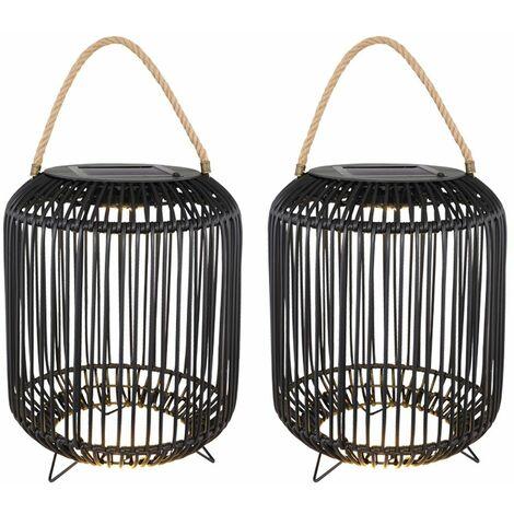 2x LED solar exterior jaula de luz proyector decoración del jardín cuerda de cáñamo negro lámpara de pie
