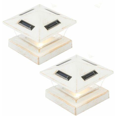 2x LED solar lámpara de exterior valla puerta lámpara jardín exterior iluminación poste tapa lámpara base blanco
