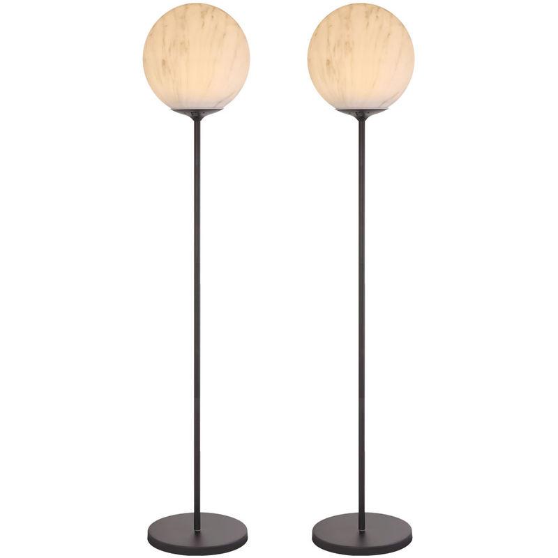 2x LED Solar Außen Steh Lampe Marmor-Optik Stand Garten Strahler Kugel Leuchte - ETC-SHOP