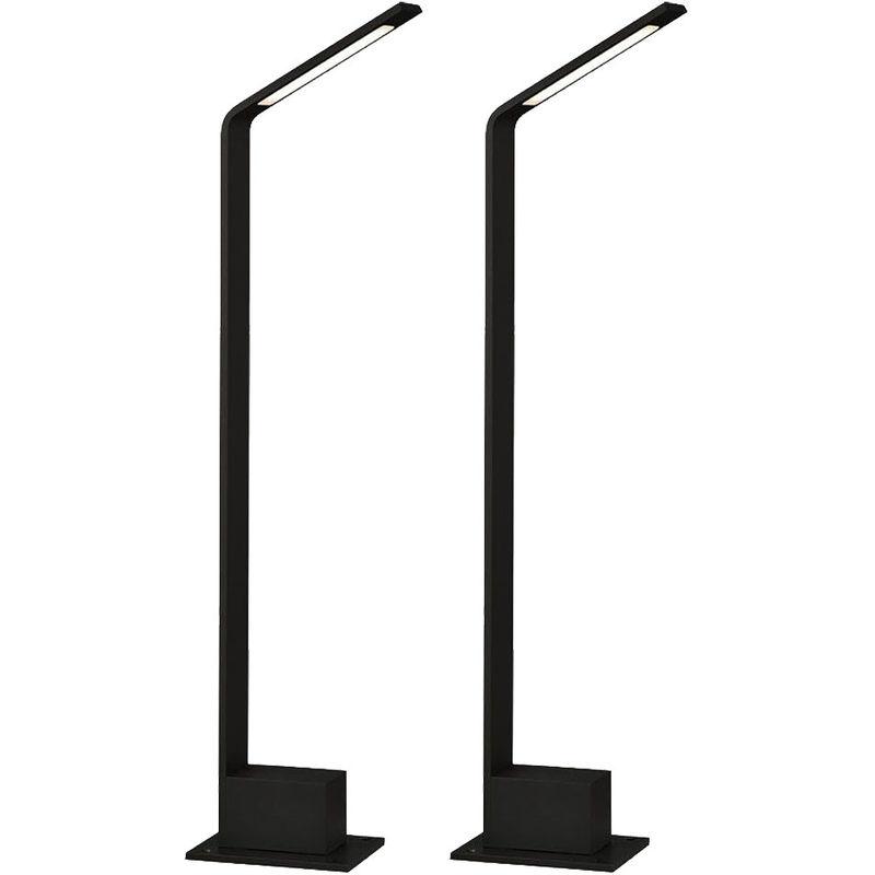 2x LED Außen Steh Lampen ALU Stand Strahler Sockel Garten Park Leuchte schwarz - ETC-SHOP
