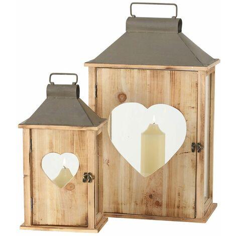2x linternas vintage interior exterior pasillo balcón viento luces madera abeto corazón puerta decoración Boltze 1015921