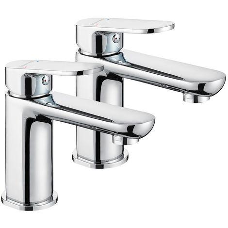 Robinet salle de bain de lavabo style mono standard EU laiton céramique chrome