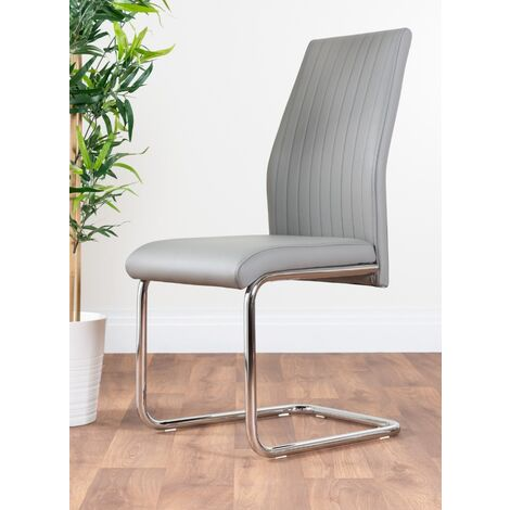 """main image of """"2x Lorenzo Faux Leather Chrome Dining Chairs"""""""