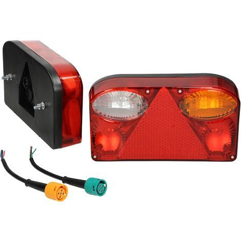 2x Luz trasera bombillas con cable 5 pin para caravana remolque 7 funciones 12V