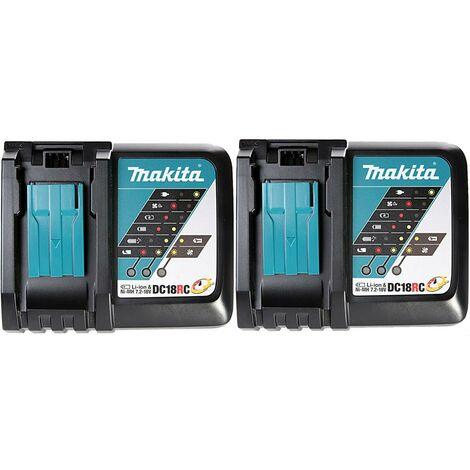 2x Makita DC18RC 18v 22min Intelligent FAST Lithium Battery Charger Black