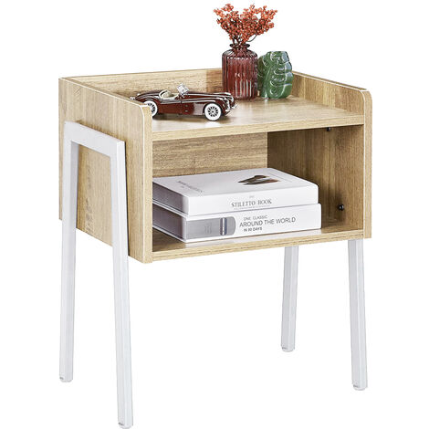 2x Mesita de Noche Vintage, Mesa Auxiliar apilable, Mesa para café con Compartimento Delantero Abierto Roble color 42 x 35 x 52 cm