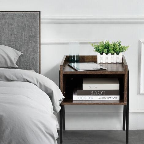 2x Mesita de Noche Vintage, Mesa Auxiliar apilable, Mesa para café con Compartimento Delantero Abierto,42 x 35 x 52 cm