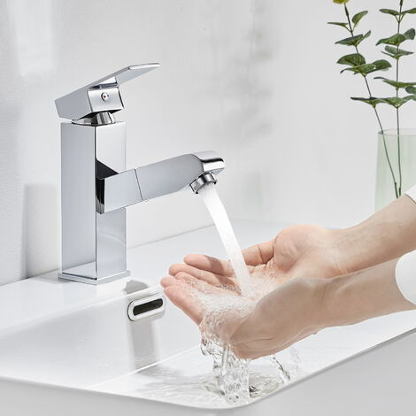 2x Mitigeur Lavabo Robinet Extractible avec Douchette à Mains Mousseur Eau Chaude et Froide Laiton Chrome Robinet pour lavabo et vasque Salle de bain Cuisine