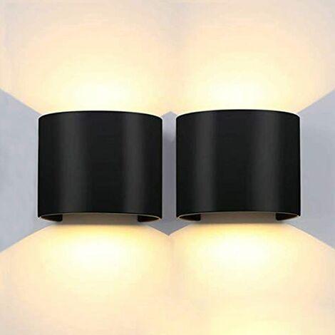 2x Moderne Applique Murale Interieur 12W Blanc Chaud Lampe Up Down pour Salon Chambre Couloir Chemin (Noir)