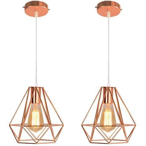 2x Moderne Lustre Suspension Forme Diamant, Lampe de Plafond Abat-Jour Luminaire Métal Style industrielle Décor,Or Rose