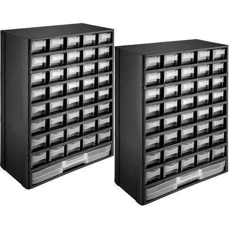 2x Módulo clasificador para piezas pequeñas - organizador estable para taller, cajonera para herramientas pequeñas con sujeciones murales, cajones apilables extraíbles con marco - negro/blanco