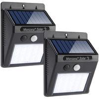 2x monzana LED Solar Wandleuchte mit Bewegungsmelder Außen 20 LED's 4 verschiedene Modi Weitwinkel Wasserdicht
