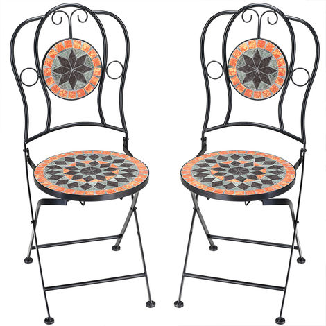2x Mosaic Chair Balcony Outdoor Patio Garden Furniture Bistro Terrace Seat Set