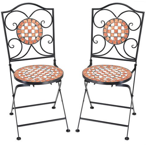 2x Mosaic Chair Balcony Patio Cafe Garden Outdoor Furniture Bistro Terrace Set