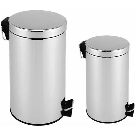 2x Mülleimer Edelstahl Abfalleimer Tretmülleimer Papierkorb Abfallbehälter 3+12L