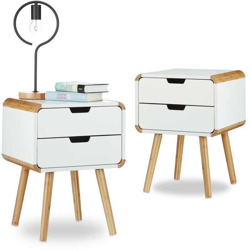 Relaxdays - 2x Nachttisch 2 Schubladen, Nachttischschrank weiß, Nachtschrank Bambus, Nachtkommode klein, HxBxT: ca. 55 x 40 x 40 cm