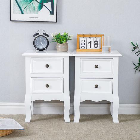 2x Nachttisch mit 2 Schublade MDF Weiß,Nachttisch Kommode Schrank Schlafzimmer 35x30x50cm