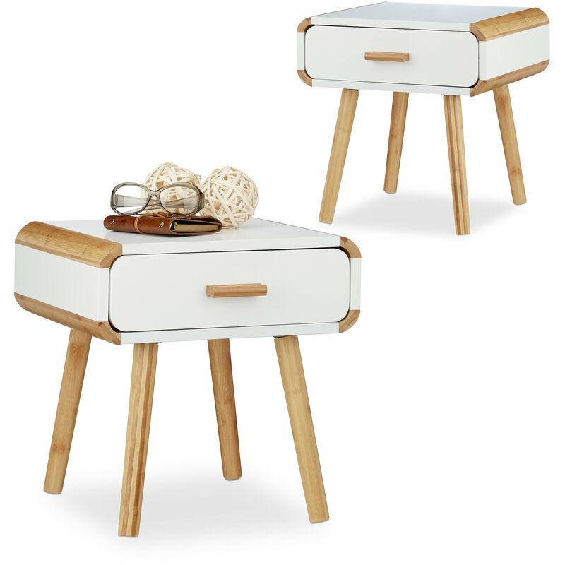 Relaxdays - 2x Nachttisch mit Schublade, Nachttischschrank weiß, Nachtschrank Bambus, Nachtkommode klein, HxBxT: ca. 41 x 40 x 40 cm