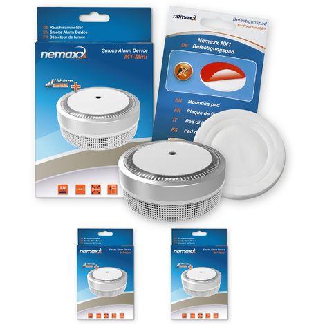 2x Nemaxx Detector de humo M1-Mini sensibilidad fotoeléctrica - con batería de litio tipo DC3V - conforme la norma DIN EN14604 & Vds - plateado + NX1 Pad de fijación