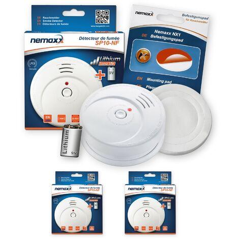 2x Nemaxx SP détecteurs de fumée durable avec 10 ans pile au lithium 9V - DIN EN 14604 : 2005/AC : 2008 certifié + NX1 patin de fixation auto-adhésive
