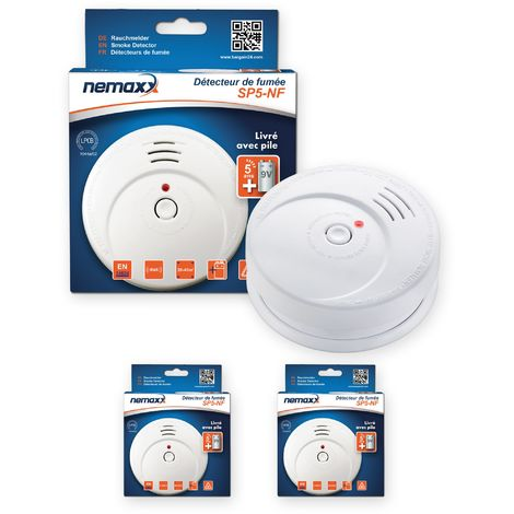 2x Nemaxx SP5-NF Detector de humo de alta calidad con pila incluida de 9V - Blanco
