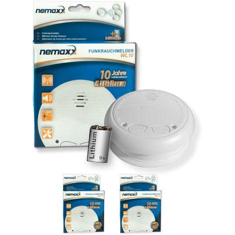 2x Nemaxx WL10 Funkrauchmelder - mit 10 Jahre Lithium Batterie Rauchmelder Feuermelder Set Funk koppelbar vernetzt - nach EN 14604