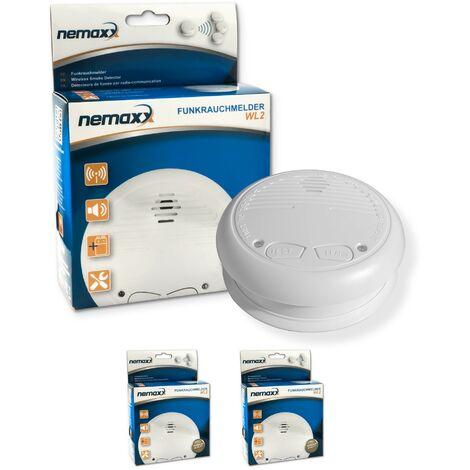 2x Nemaxx WL2 detectores de humo inalámbricos - con DIN EN 14604