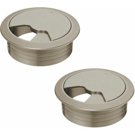 2x passe câble bureau 60mm plastique aspect acier inox rond encastrable