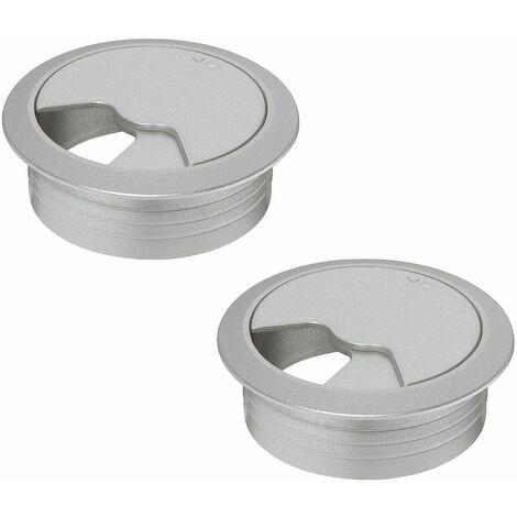 2x passe câble bureau 60mm plastique aspect aluminium blanc rond encastrable
