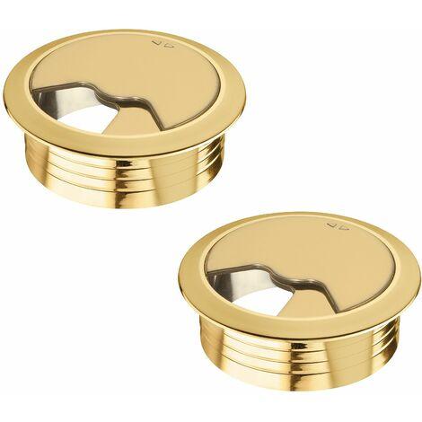 2x passe câble bureau 60mm plastique aspect or doré rond encastrable