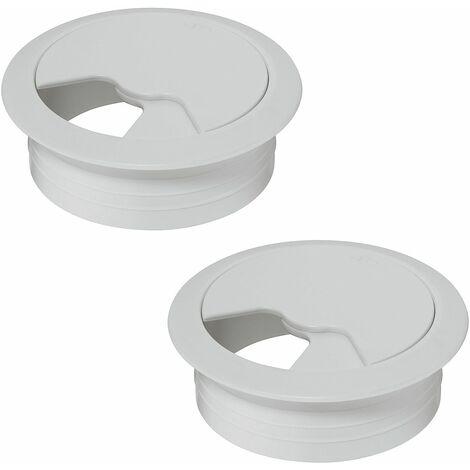 2x passe câble bureau 60mm plastique blanc rond encastrable