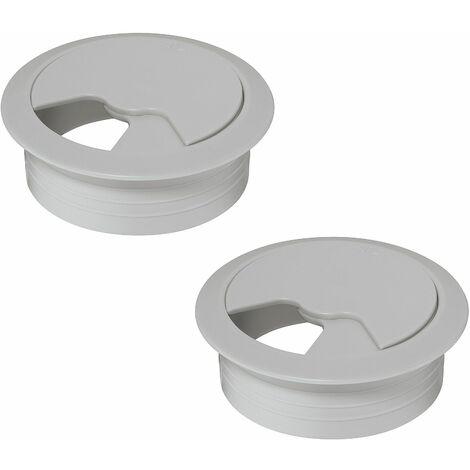 2x passe câble bureau 60mm plastique gris clair rond encastrable