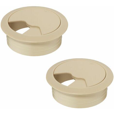 2x passe câble bureau 80mm plastique beige rond encastrable