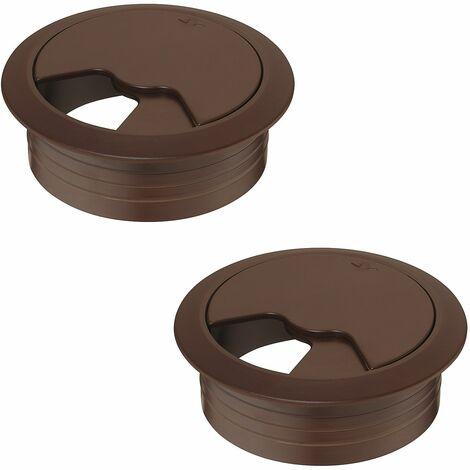 2x passe câble bureau 80mm plastique marron brun sepia