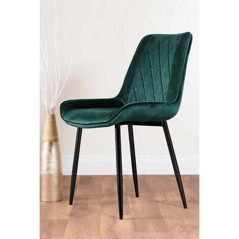 "main image of ""2x Pesaro Velvet Black Leg Luxury Dining Chairs"""