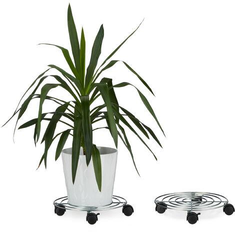 2x Pflanzenroller, Blumenroller mit Bremse, rund, Blumentopfuntersetzer aus Stahl, HBT: ca. 6 x 32 x 32 cm, silber