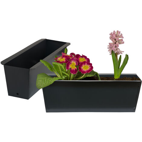 2x Pflanzkasten Palette Anthrazit Paletten Blumenkasten Pflanzkübel 35,5 x 12,5 x 12 cm Palettenkasten