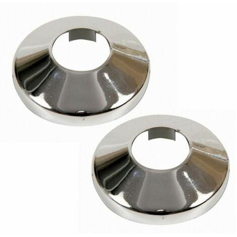2x Pièces Chromé PVC Plastique Tuyau Couverture Collier Rose 16 mm Diamètre