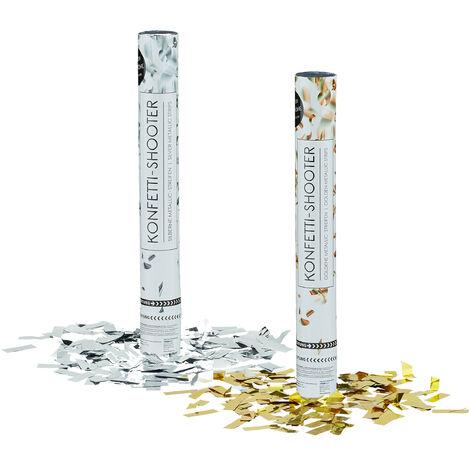 2x pièces lanceurs de confettis canons à confetti 40 cm argenté et doré portée 6-8 m anniversaire fête décoration mariage cadeau, argenté / doré métallique