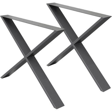 2x Piedi Tavolo Gambe A Forma Di X Design Industriale Base Per