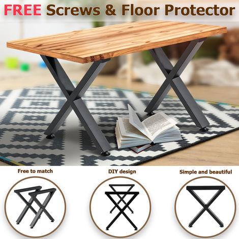 2x Pieds de Table Industriel H40cm Forme X Avec Protecteur de Sol DIY Pied de Meuble