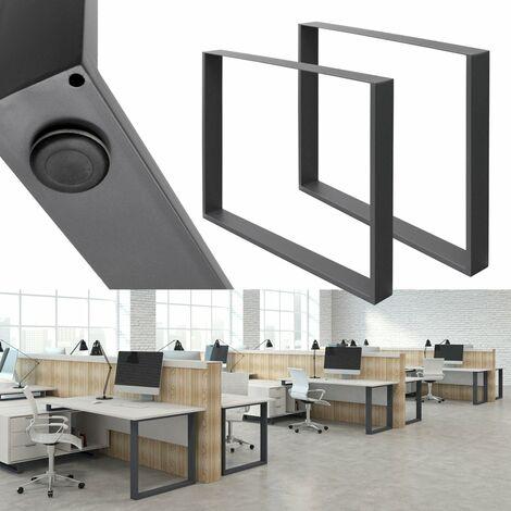 2x Pieds de table industriel piètement pied meuble acier gris foncé 80 x 72 cm
