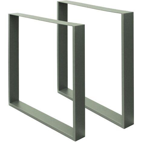 2x Pieds de table industriel piètement pied meuble acier gris pierre 70 x 72 cm