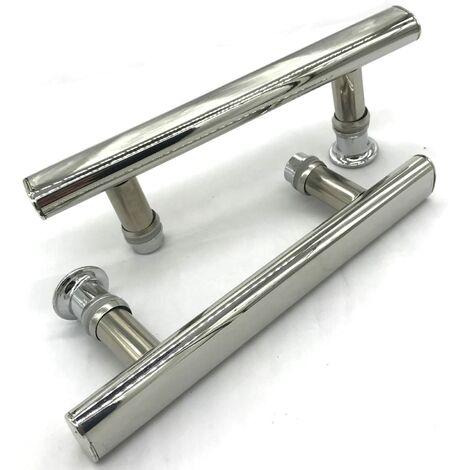 2x Poignée de porte de douche Chromé entraxe 145 mm