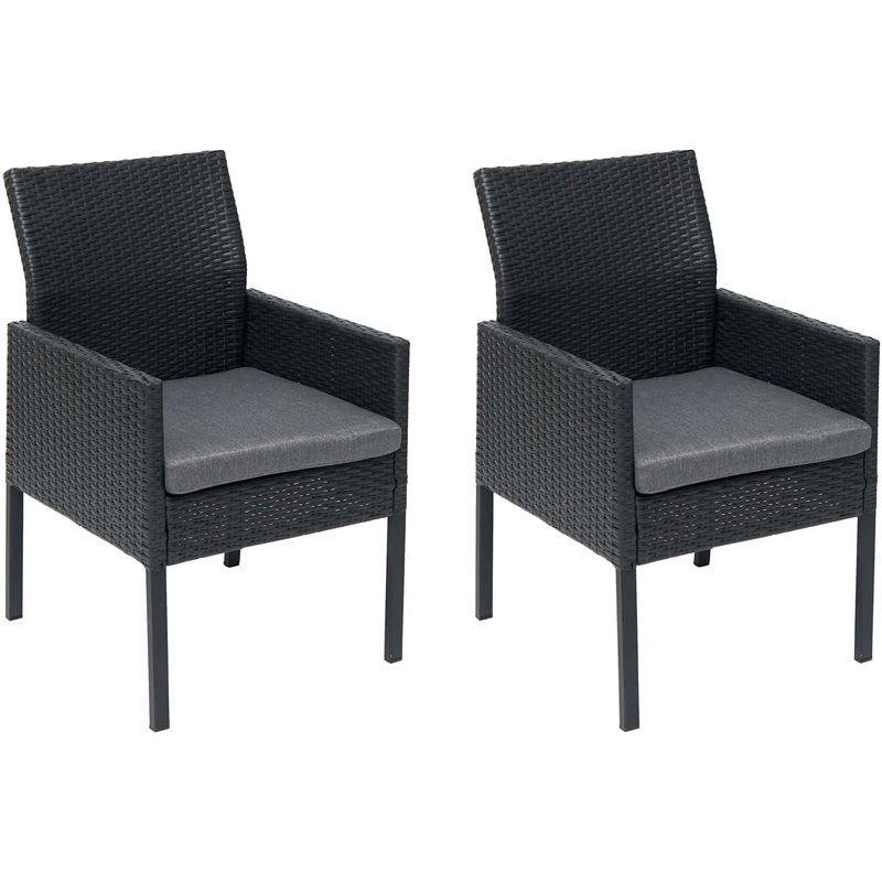 2x Poly-Rattan Sessel 818, Gartenstuhl Korbsessel ~ schwarz, Kissen dunkelgrau, Standard-Version - HHG