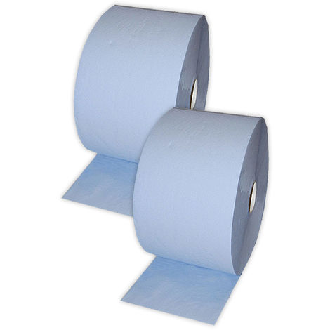 2x Putzrolle Komfort (2-lagig) 500 Blätter/Rl. - Blatt 36 x 22 cm, Farbe blau Fronttool - 18096