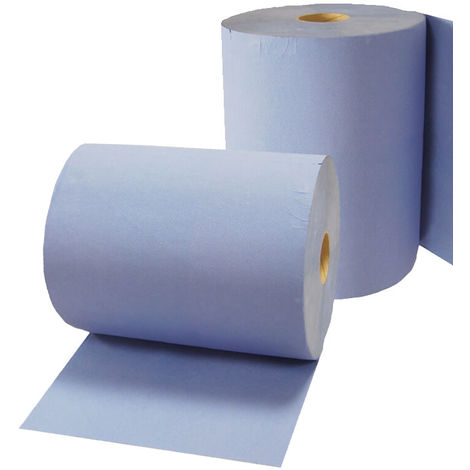 2x Putzrolle Komfort (3-lagig), 500 Blätter/Rl. in blau, Papier-Rolle, Putztuch, Putzpapier Fronttool - 18097
