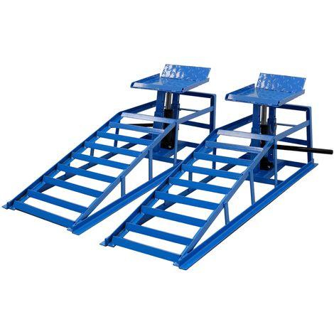 2x Rampa de acero hidráulico taller gato elevador caballete coches 2T regulable
